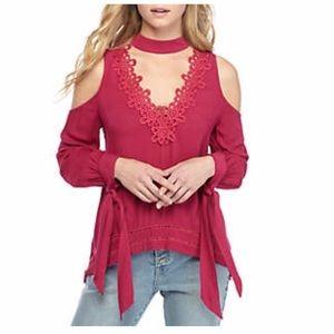 WONDERLY Fuschia Pink Top - cold shoulder